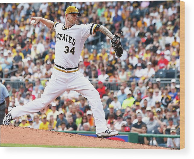 People Wood Print featuring the photograph Philadelphia Phillies V Pittsburgh by Jared Wickerham