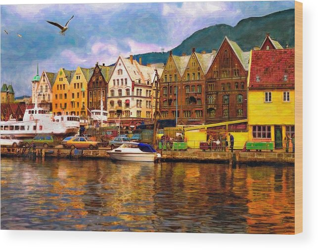 Alesund Wood Print featuring the photograph Port Life Watercolor by Steve Harrington