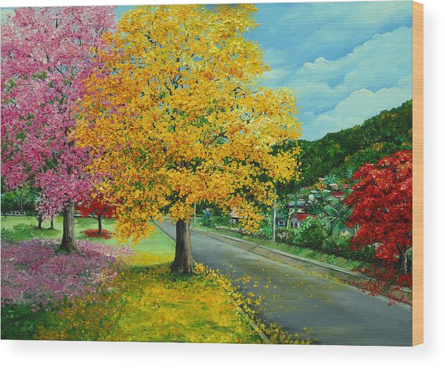 Poui Trees Wood Print featuring the painting Poui In Diego by Karin Dawn Kelshall- Best