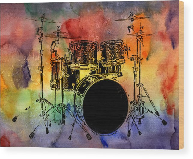 Drums Wood Print featuring the photograph Psychedelic Drum Set by Athena Mckinzie