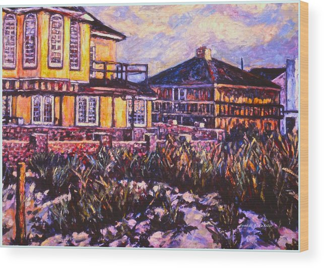 Landscape Wood Print featuring the painting Rehoboth Beach Houses by Kendall Kessler