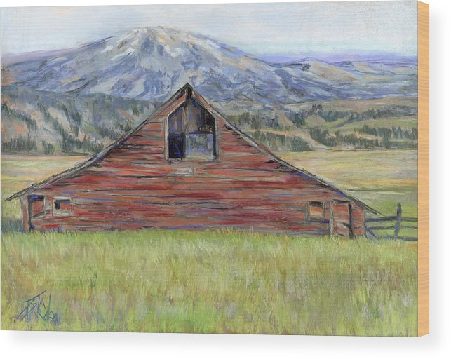 Red Barn Wood Print featuring the painting Rocky Mountain Barn by Billie Colson