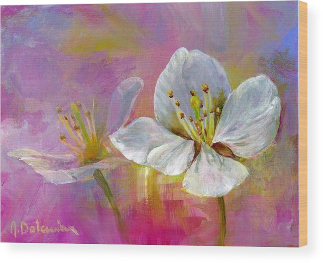 Acrylic Wood Print featuring the painting Rose Pecher by Muriel Dolemieux