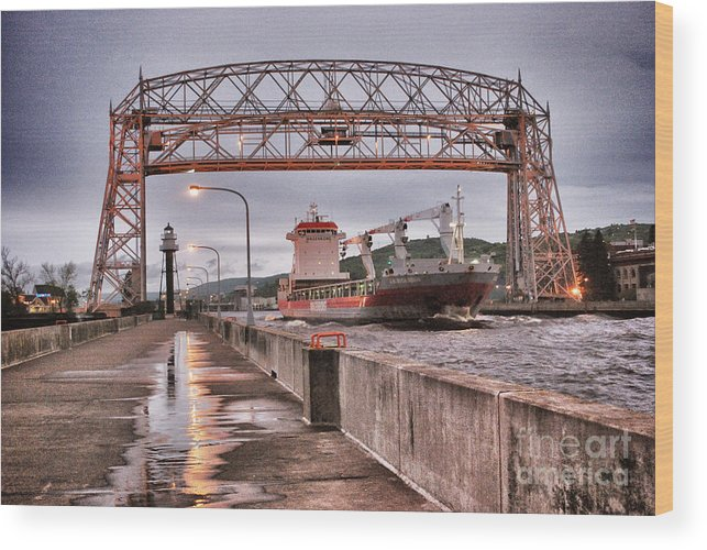 Aerial Lift Bridge Wood Print featuring the photograph Sailing Through The Duluth Aerial Lift Bridge by Ever-Curious Photography
