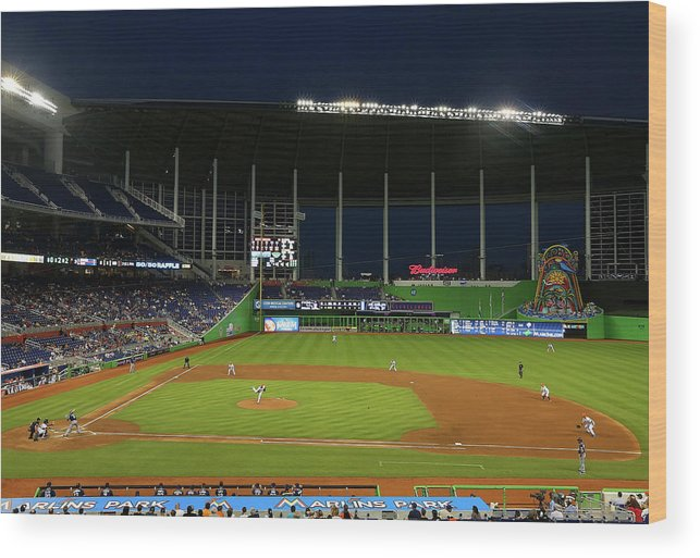 American League Baseball Wood Print featuring the photograph San Diego Padres V Miami Marlins by Mike Ehrmann