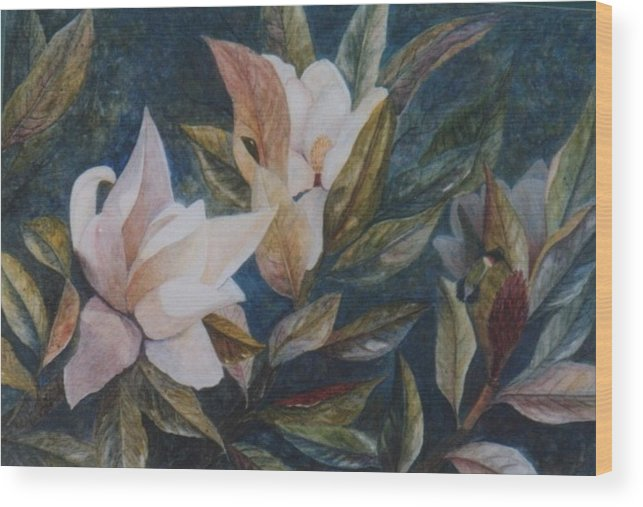 Magnolias; Humming Bird Wood Print featuring the painting Serenity by Ben Kiger