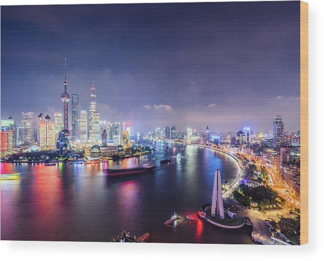 Downtown District Wood Print featuring the photograph Shanghai Skyline At Night by Yongyuan Dai