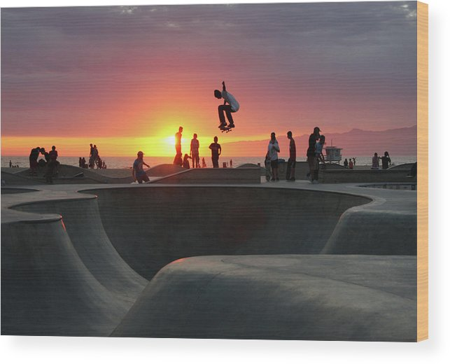 Expertise Wood Print featuring the photograph Skateboarding At Venice Beach by Mgs
