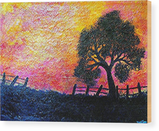 Landscape Wood Print featuring the painting Stay Gold by Dina Sierra