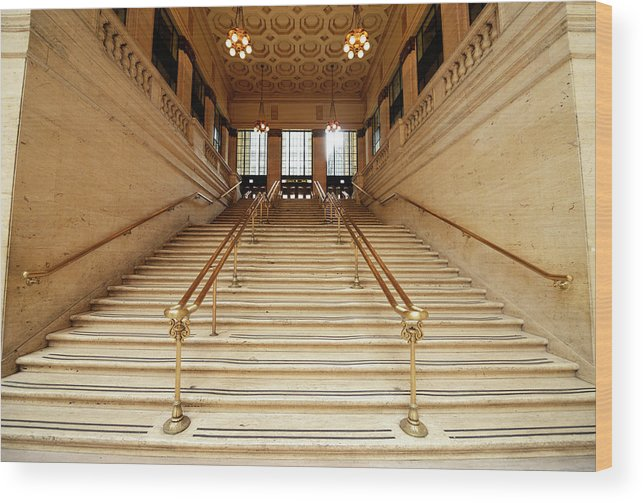 Steps Wood Print featuring the photograph Subway Station Staircase,chicago by Lisa-blue
