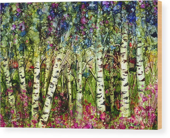 Trees Wood Print featuring the painting Summer Birch by Francine Dufour Jones