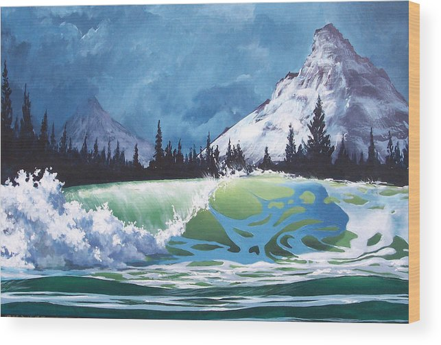 Wave Wood Print featuring the painting Surf and Snow by Philip Fleischer