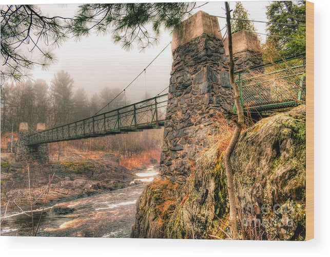 Swinging Bridge Wood Print featuring the photograph Swinging Bridge Before The Storm by Ever-Curious Photography