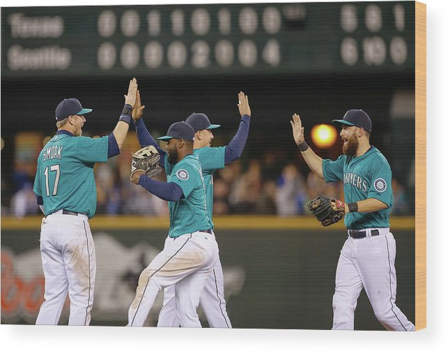 People Wood Print featuring the photograph Texas Rangers V Seattle Mariners by Otto Greule Jr