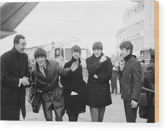 The Beatles Wood Print featuring the photograph The Beatles in Dublin by Irish Photo Archive