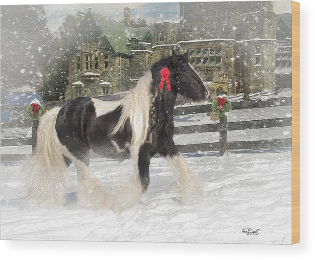 Christmas Wood Print featuring the mixed media The Christmas Pony by Fran J Scott