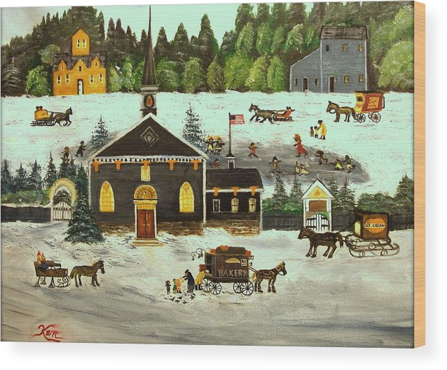 Folk Art Wood Print featuring the painting The Church by Kenneth LePoidevin