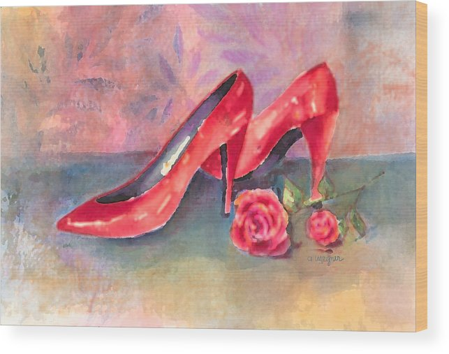 Shoe Wood Print featuring the painting The Red Shoes by Arline Wagner
