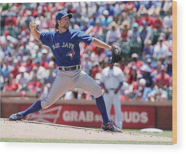 American League Baseball Wood Print featuring the photograph Toronto Blue Jays V Texas Rangers by Brandon Wade