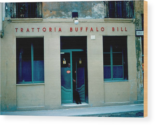 Vicenza Wood Print featuring the photograph Trattoria Buffalo Bill 1962 by Cumberland Warden