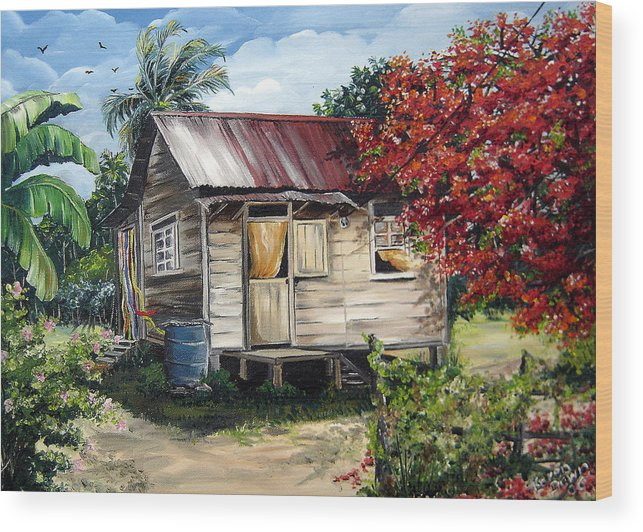 Landscape Paintings Tropical Paintings Trinidad House Paintings House Paintings Country Painting Trinidad Old Wood House Paintings Flamboyant Tree Paintings Caribbean Paintings Greeting Card Paintings Canvas Print Paintings Poster Art Paintings Wood Print featuring the painting Country Life by Karin Dawn Kelshall- Best