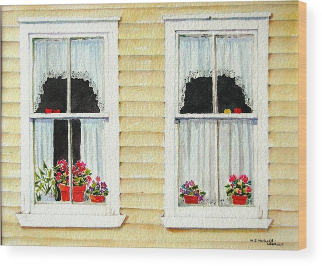 Windows Wood Print featuring the painting Twin Peeks by Mary Ellen Mueller Legault
