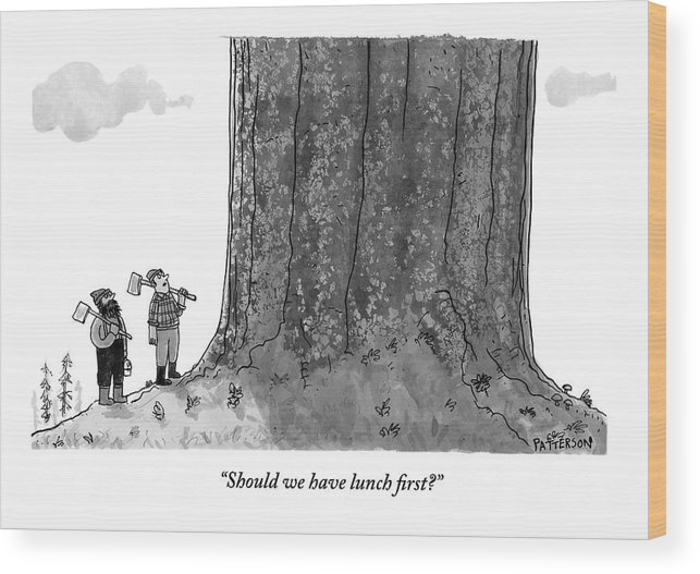 Lumberjacks Wood Print featuring the drawing Two Lumberjacks With Axes Stare Up At A Giant by Jason Patterson