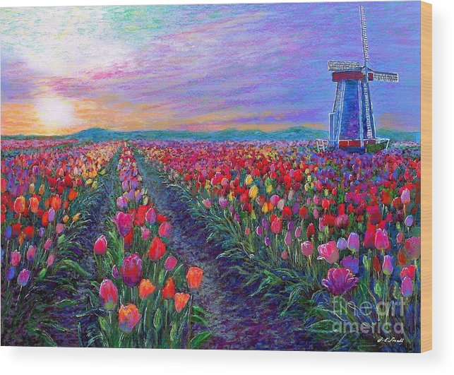 Landscape Wood Print featuring the painting Tulip Fields, What Dreams May Come by Jane Small