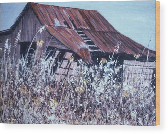 Rustic Wood Print featuring the painting Barn in Sunlight by Ben Kiger