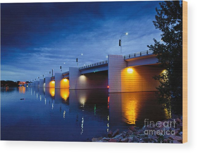 Claude Allouez Bridge Wood Print featuring the photograph Claude Allouez Bridge At Nightfall by Ever-Curious Photography