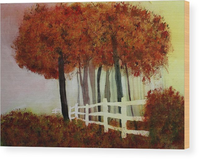 Trees Wood Print featuring the painting Colors of Autumn by Mary Gaines