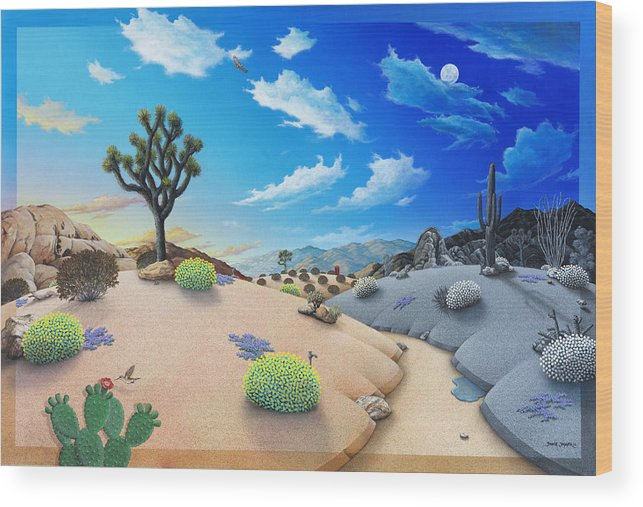 Desert Wood Print featuring the painting Desert Timeline by Snake Jagger