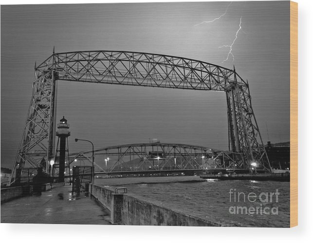 Lift Bridge Wood Print featuring the photograph Duluth Lift Bridge Under Lightning by Ever-Curious Photography