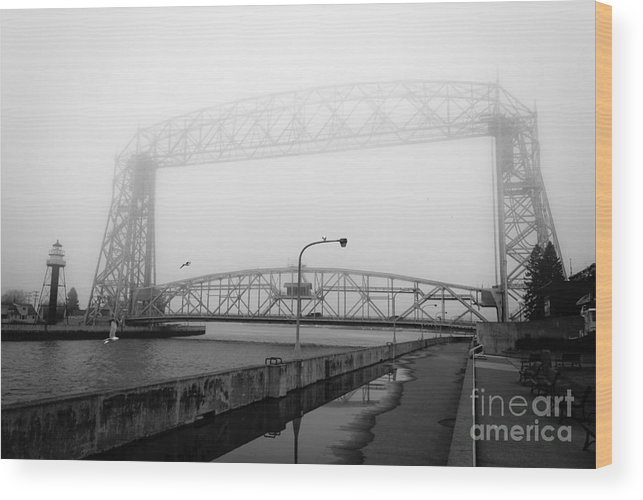 Lake Superior Wood Print featuring the photograph Lift Bridge Silver Fog by Ever-Curious Photography