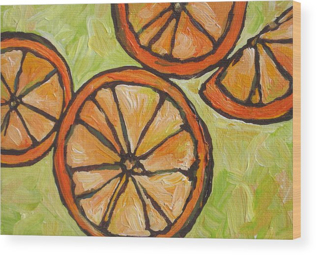 Fruit Wood Print featuring the painting My Vitamin C by Sandy Tracey