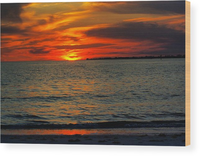 Sunset Wood Print featuring the photograph Red Reflections by Florene Welebny