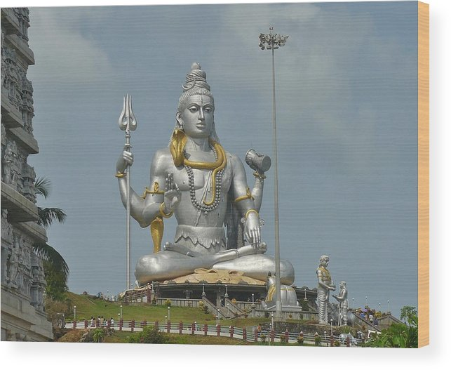 Panasonic Wood Print featuring the photograph Statue of Lord Shiva at Murudeshwara by Sandeep Gangadharan