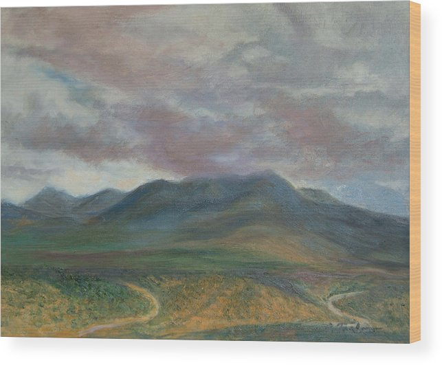 Landscape Wood Print featuring the painting Storm Clouds Over the Ortiz Mountains by Phyllis Tarlow