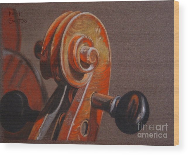 Violin Wood Print featuring the pastel The Scroll and Pegs by Keith Gantos