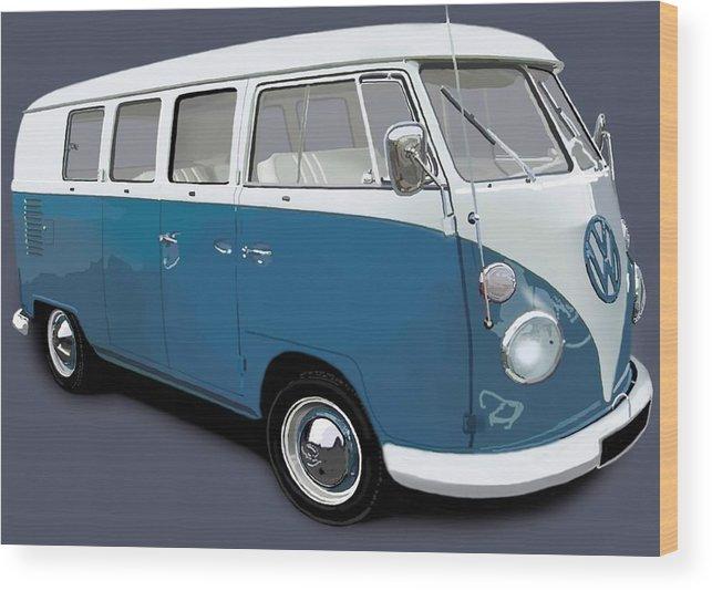 Adventure Wood Print featuring the digital art VW Campervan Blue by Richard Herron