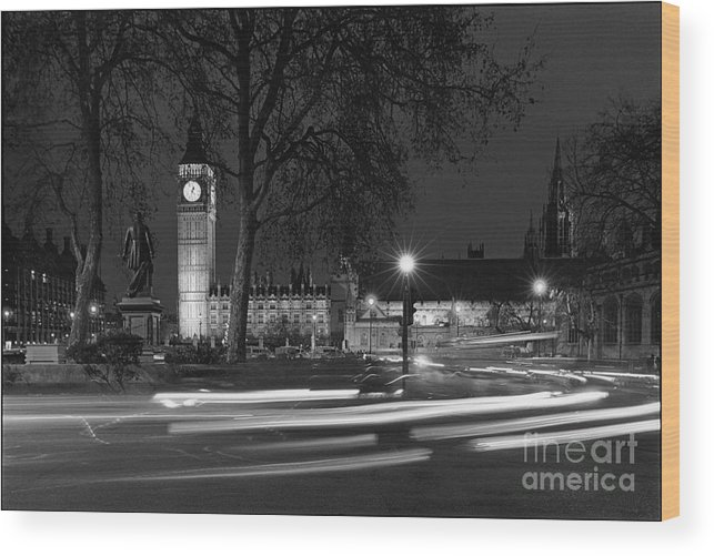 Westminster Palace Wood Print featuring the photograph Westminster Night Traffic by Aldo Cervato