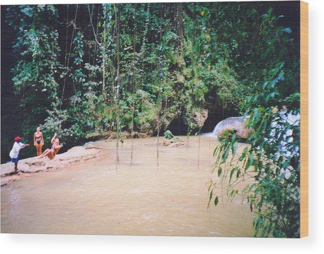 Jamaica Wood Print featuring the photograph YS Falls2 Jamaica by Debbie Levene
