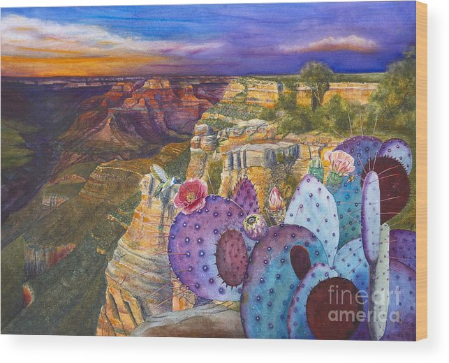 Canyon Wood Print featuring the painting South Rim Wonders by Jany Schindler