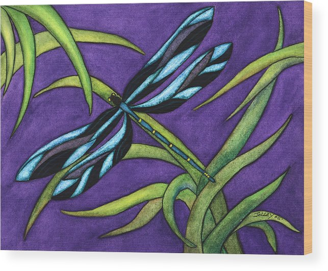 Watercolor Wood Print featuring the painting Dragonfly by Stephanie Jolley