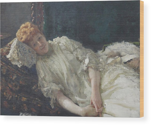 Ilya Repin Portrait Wood Print featuring the painting Portrait of the Pianist Louisa Mercy D'argenteau by Ilya Repin