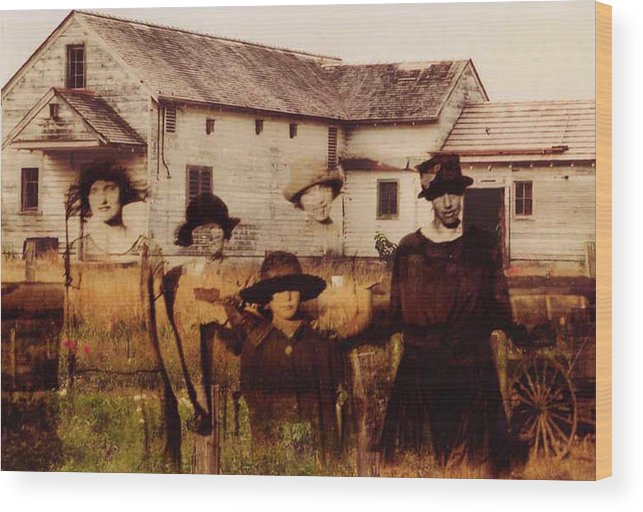 Farm Wood Print featuring the photograph The Woodbine Turned Red by Brande Barrett