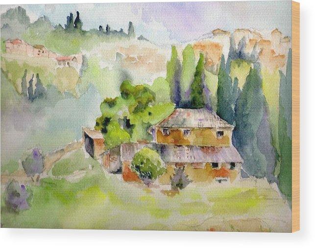 Vineyard Wood Print featuring the painting Dievole Vineyard by Judy Swerlick