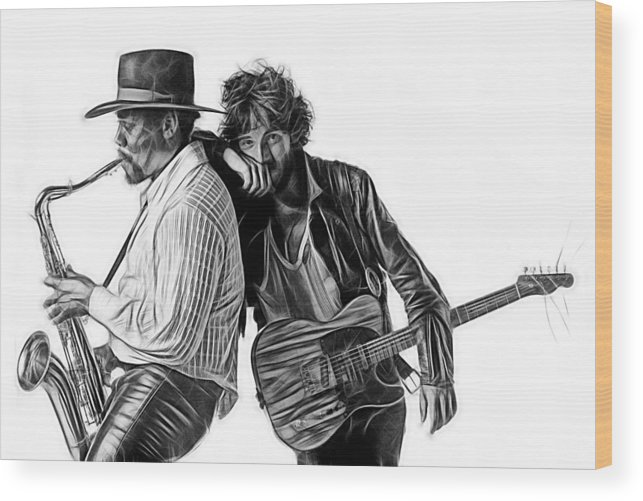 Bruce Springsteen Wood Print featuring the mixed media Bruce Springsteen Clarence Clemons Collection by Marvin Blaine