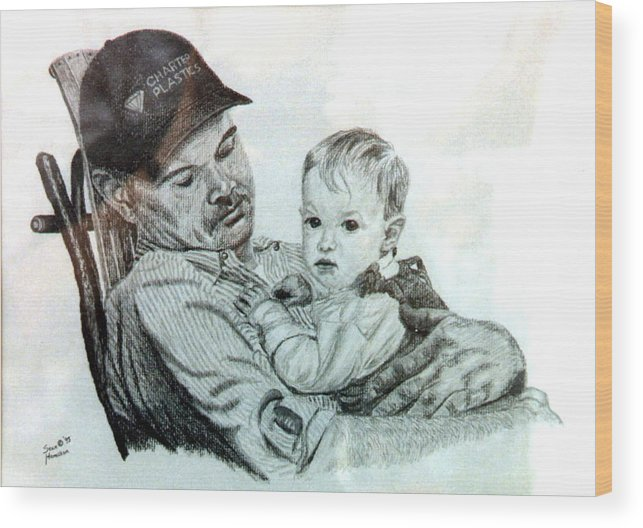 Pencil Wood Print featuring the drawing John and Megan by Stan Hamilton