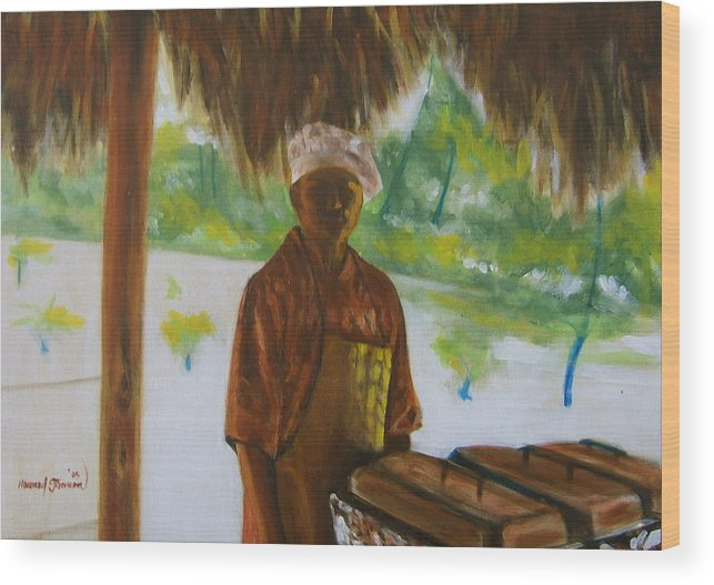 Food Service Worker On Island In The Caribbeans Wood Print featuring the painting Untitled 4 by Howard Stroman